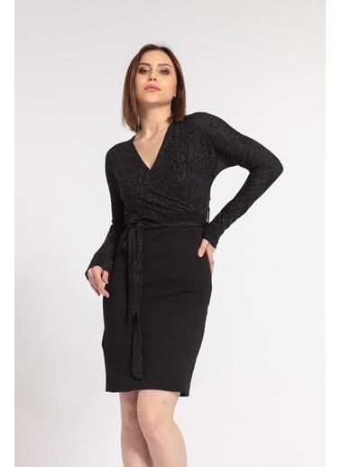 Jument Şal Yaka Yarasa Kiloş Elbise -Gümüş  Siyah